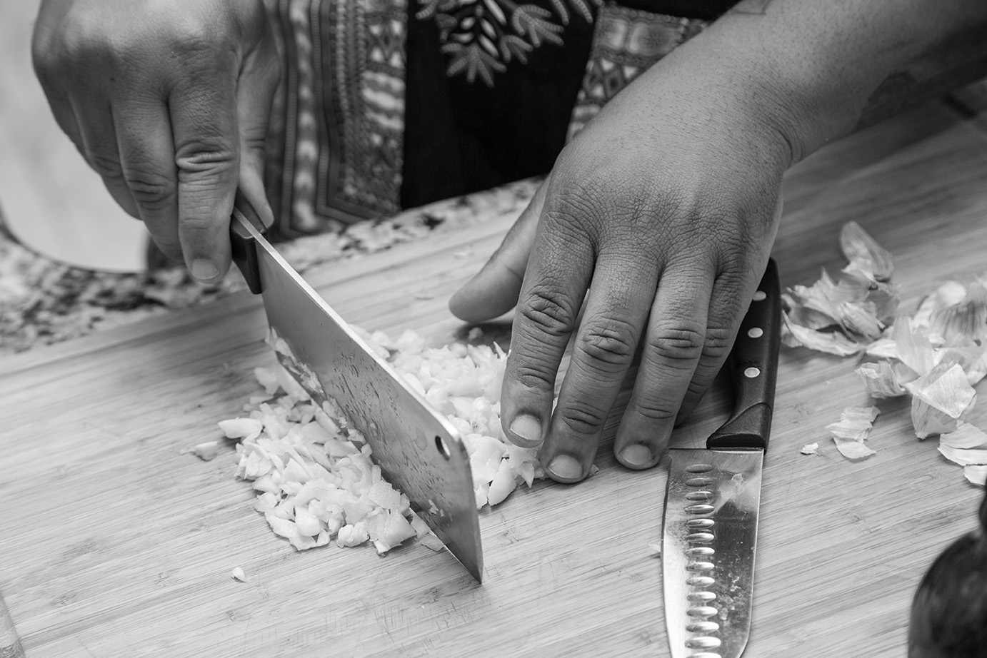 Garlic chopping.
